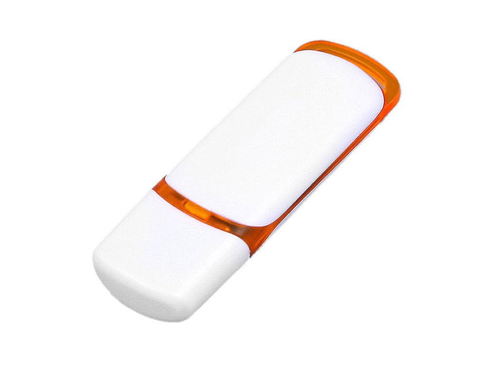 Флешка промо прямоугольной классической формы с цветными вставками, 64 Гб, белый/оранжевый