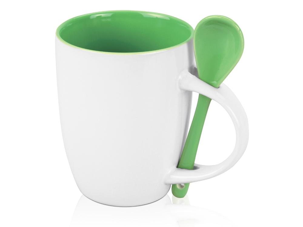 Кружка Авеленго с ложкой, зеленый