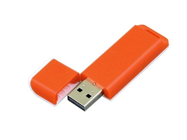 Флешка прямоугольной формы, оригинальный дизайн, двухцветный корпус, 64 Гб, оранжевый/белый