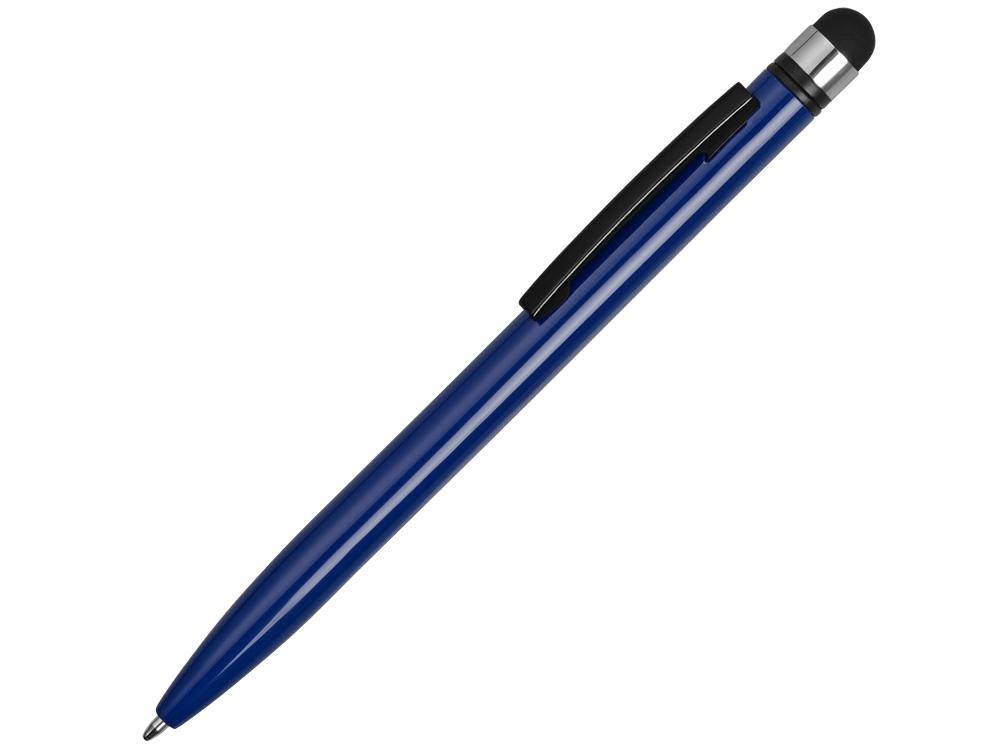 Ручка-стилус металлическая шариковая Poke, синий/черный