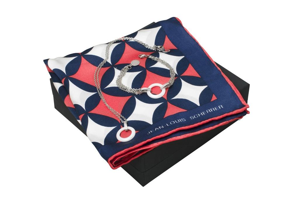 Набор: шелковый платок, браслет, колье