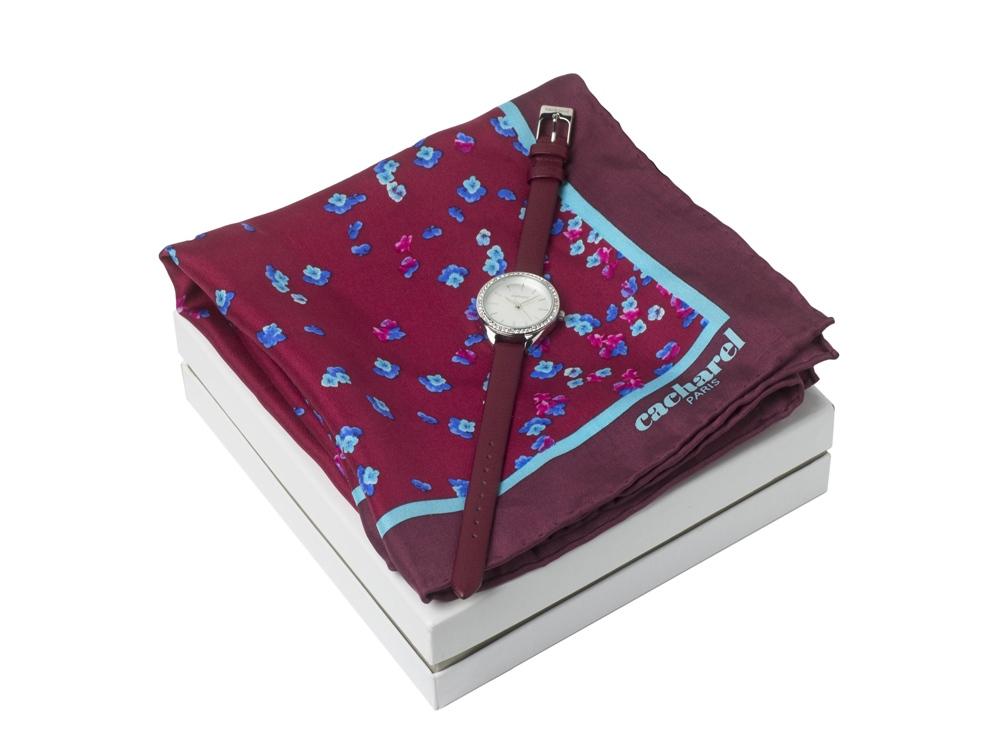 Подарочный набор: часы наручные женские, шелковый платок. Cacharel
