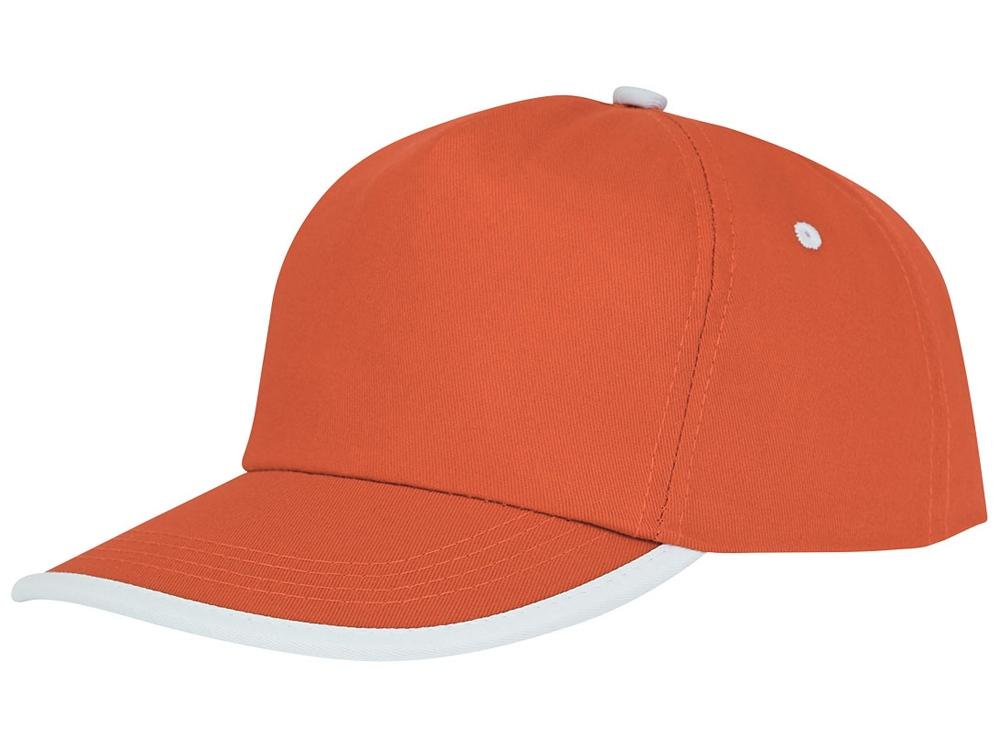 Пятипанельная кепка Nestor с окантовкой, оранжевый/белый