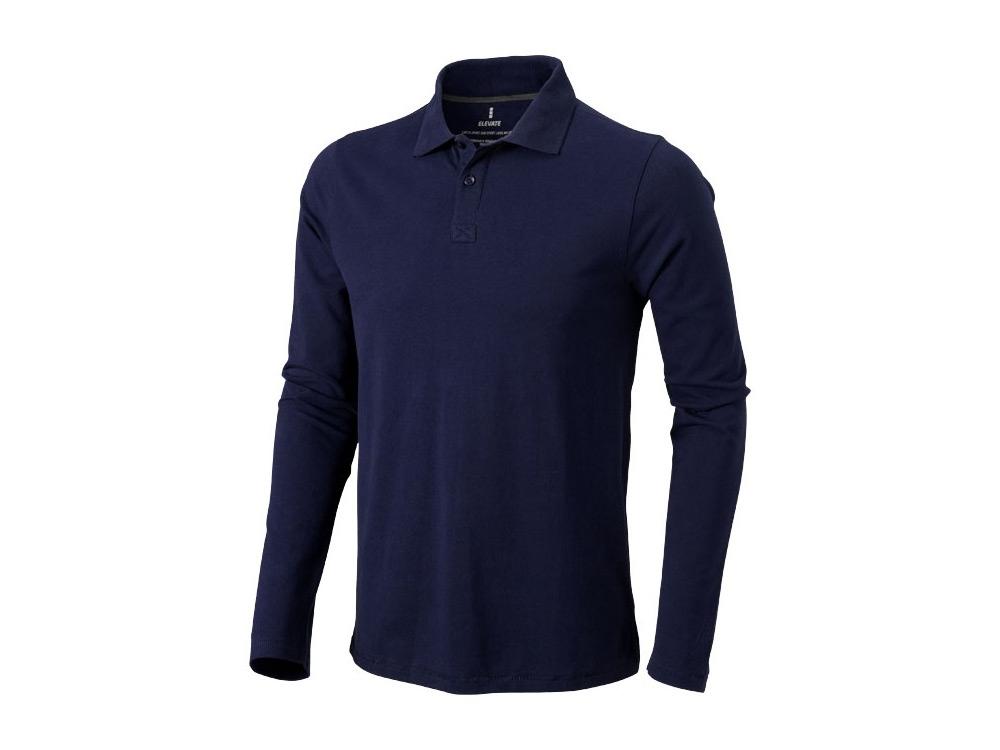 Рубашка поло Oakville мужская с длинным рукавом, темно-синий