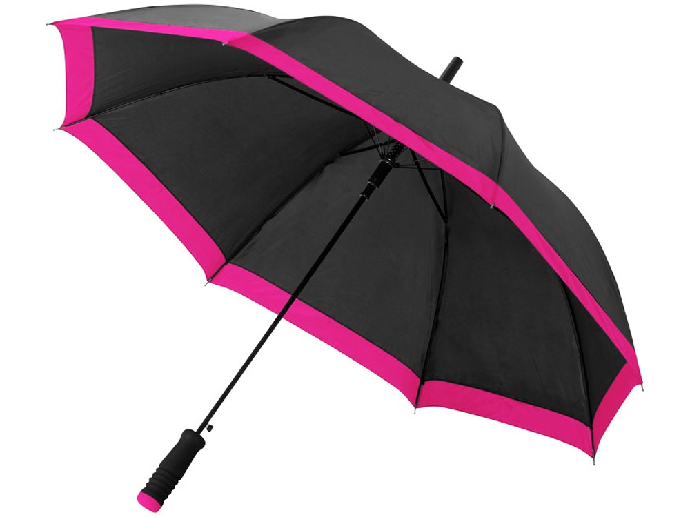 Зонт-трость Kris 23 полуавтомат, черный/фуксия