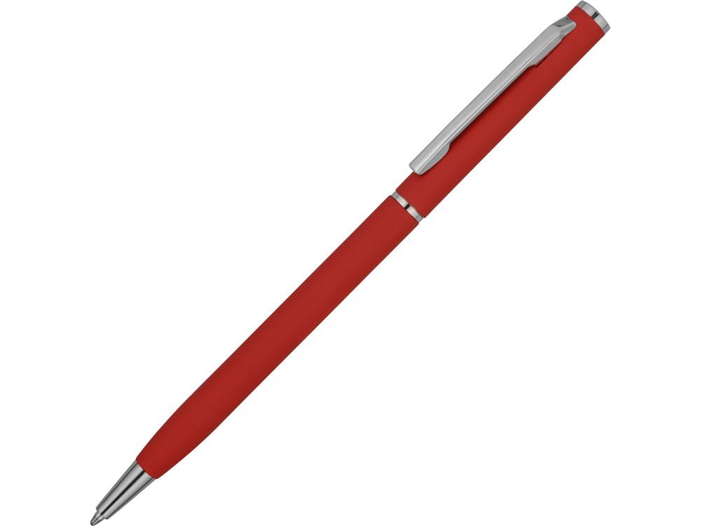 Ручка металлическая шариковая Атриум с покрытием софт-тач, красный