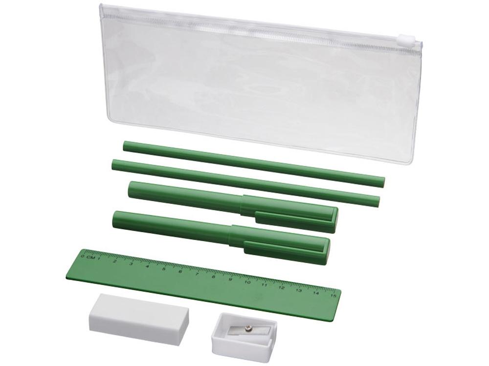 Набор Mindy: ручки шариковые, карандаши, линейка, точилка, ластик, зеленый