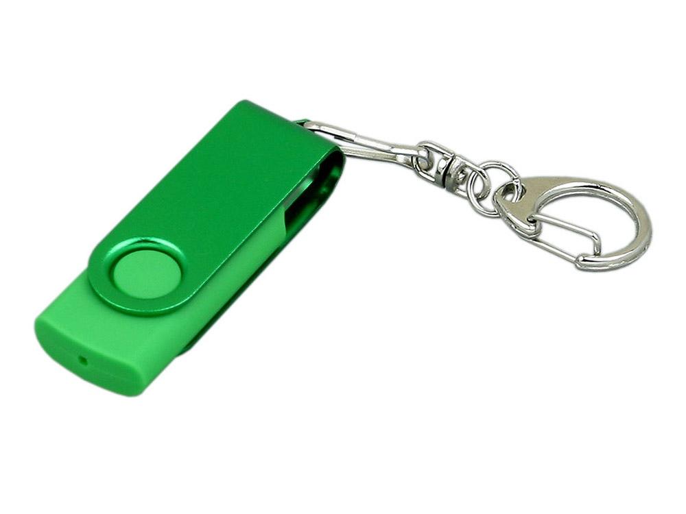 Флешка промо поворотный механизм, с однотонным металлическим клипом, 32 Гб, зеленый