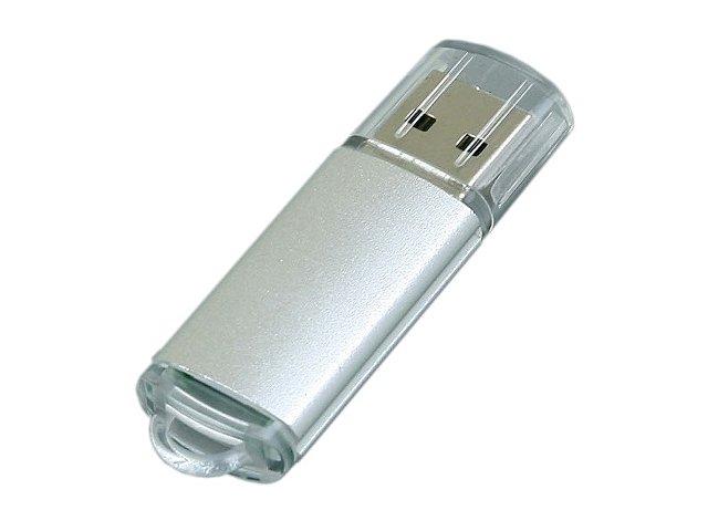 Флешка промо прямоугольной формы  c прозрачным колпачком, 64 Гб, серебристый