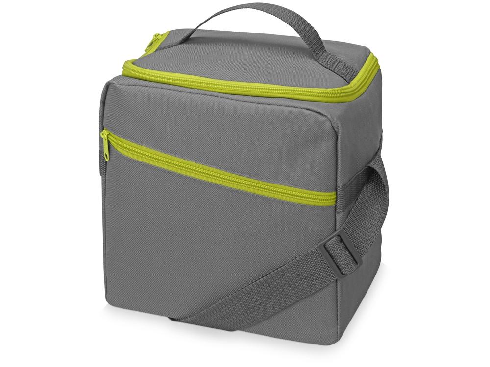 Изотермическая сумка-холодильник Classic c контрастной молнией, серый/зел яблоко