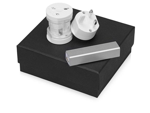 Подарочный набор Charge с адаптером и зарядным устройством, серебристый