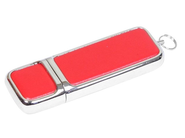 Флешка компактной формы, 64 Гб, красный/серебристый