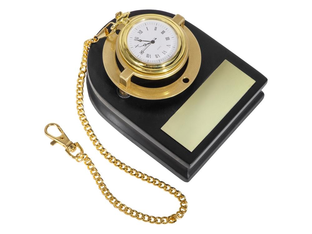 Часы Магистр с цепочкой на деревянной подставке, золотистый/красное дерево