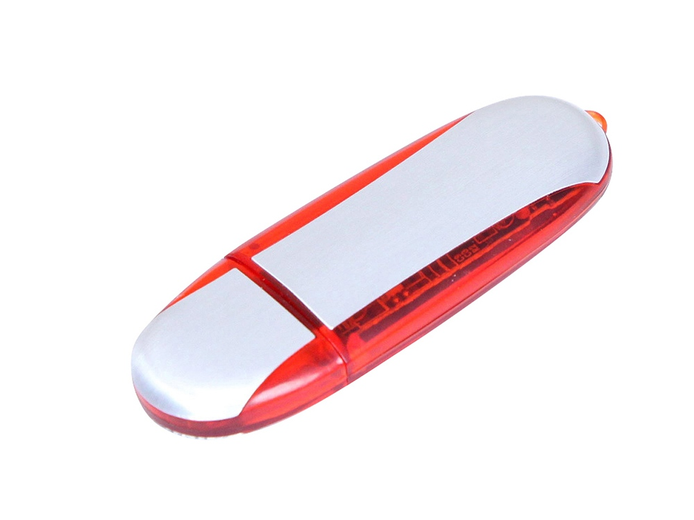 Флешка промо овальной формы, 32 Гб, серебристый/красный
