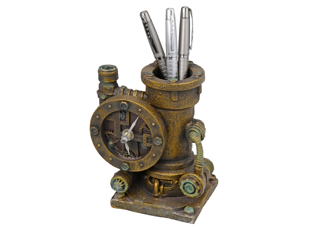 Часы-карандашница, бронзовый