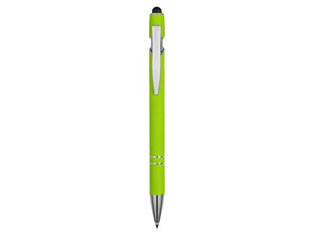 Ручка металлическая soft-touch шариковая со стилусом «Sway», зеленое яблоко/серебристый