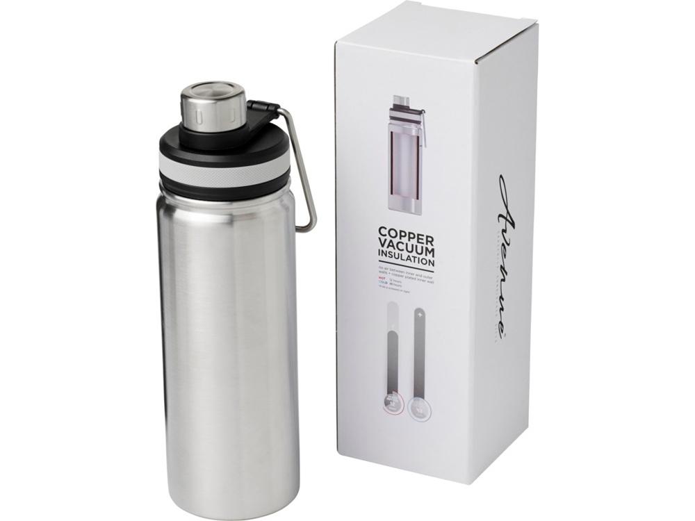 Спортивная бутылка Gessi объемом 590мл с медной вакуумной изоляцией, серебристый