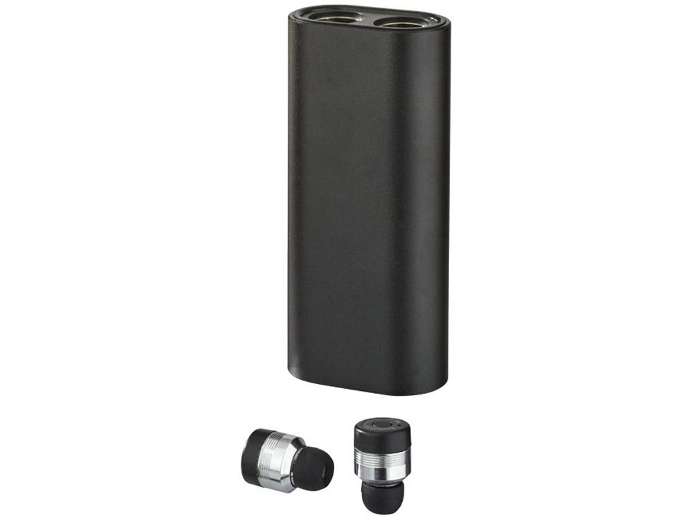 Металлические беспроводные наушники с чехлом пауэрбанк