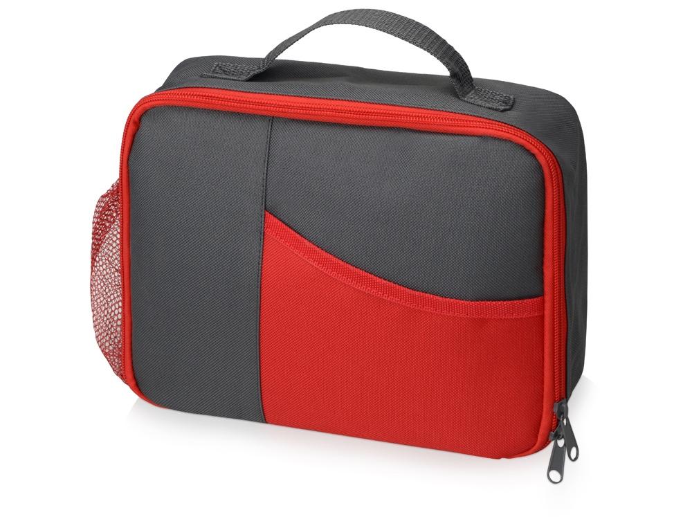 Изотермическая сумка-холодильник Breeze для ланч бокса, серый/красный