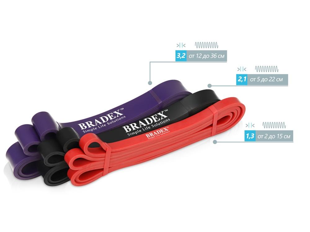 Набор фитнес-резинок Fitnesstape, черный, красный, фиолетовый