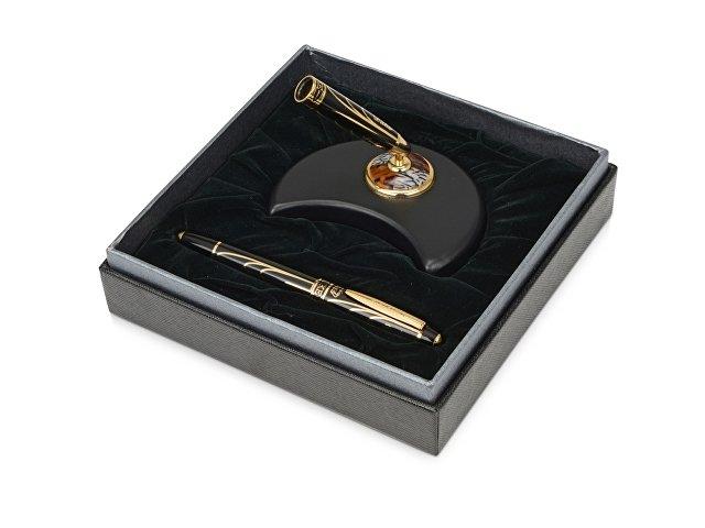 Набор Duke «Министр»:ручка-роллер на подставке в виде полумесяца, черный/золотистый