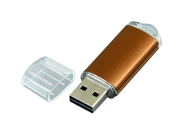 Флешка промо прямоугольной формы  c прозрачным колпачком, 64 Гб, коричневый