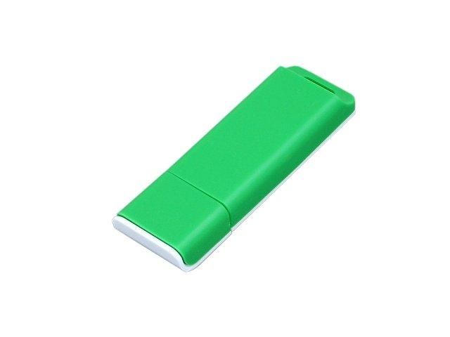 Флешка прямоугольной формы, оригинальный дизайн, двухцветный корпус, 16 Гб, зеленый/белый