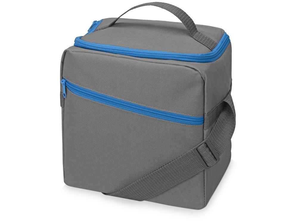 Изотермическая сумка-холодильник Classic c контрастной молнией, серый/голубой