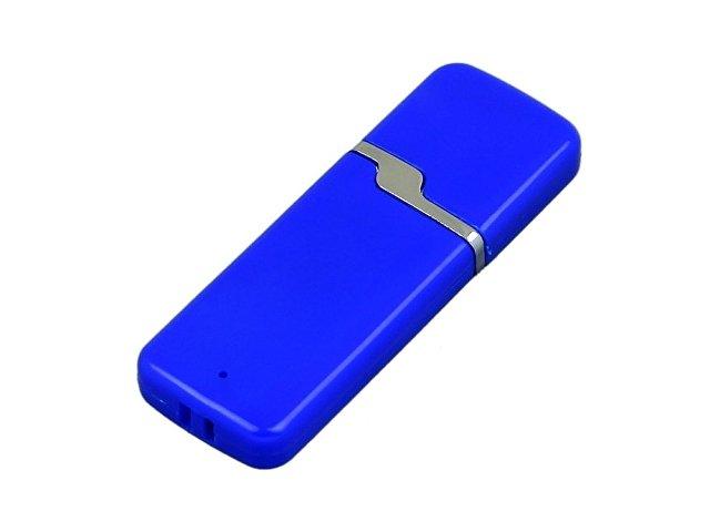 Флешка промо прямоугольной формы c оригинальным колпачком, 64 Гб, синий