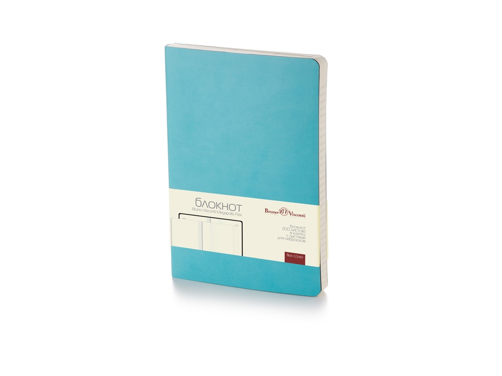 Блокнот А5 Megapolis Flex soft-touch, бирюзовый