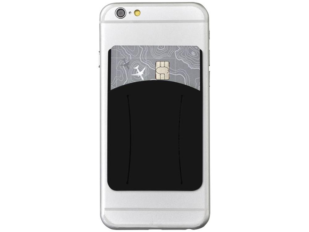 Картхолдер для телефона с отверстием для пальца, черный