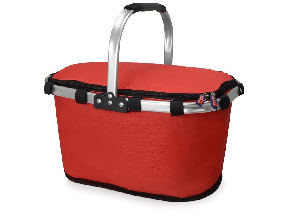 Изотермическая сумка-холодильник FROST складная с алюминиевой рамой, красный