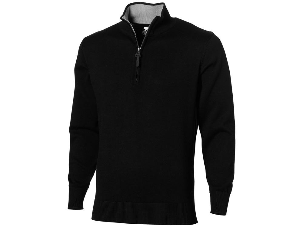 Пуловер Set с застежкой на четверть длины, черный/серый