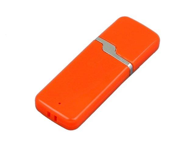 Флешка промо прямоугольной формы c оригинальным колпачком, 64 Гб, оранжевый