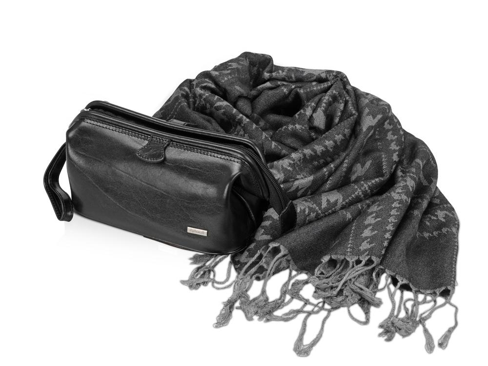 Подарочный набор: несессер, шарф, черный/серый