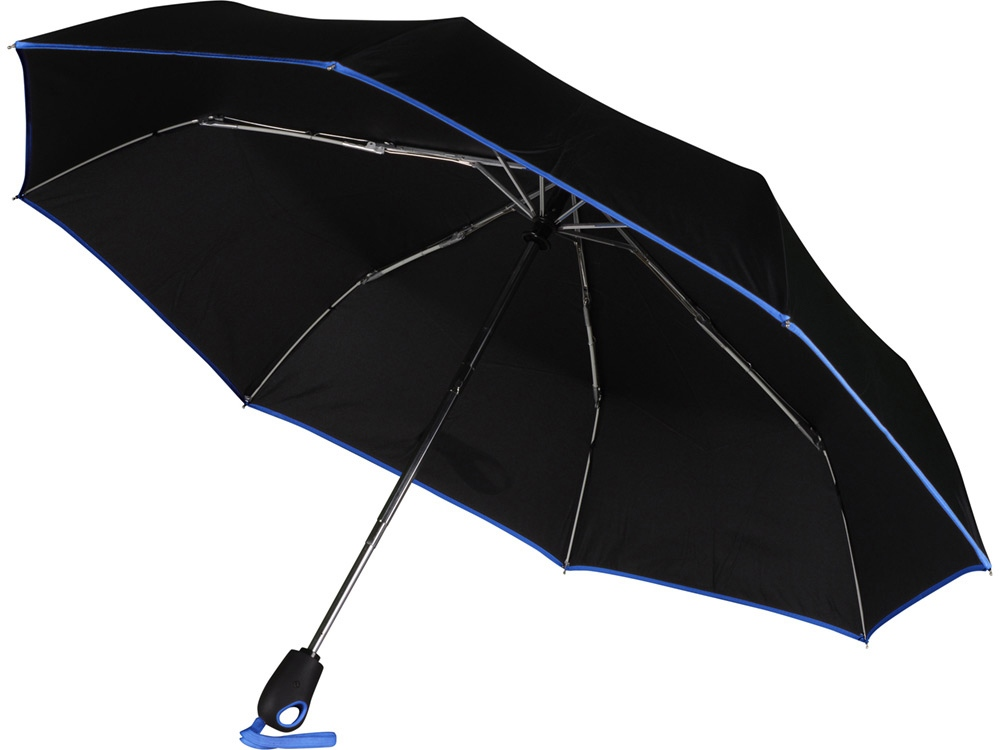 Зонт складной Уоки, черный/синий