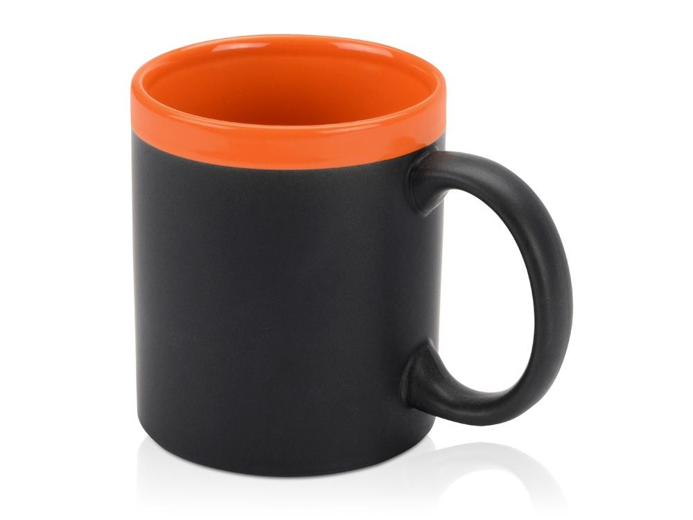 Кружка с покрытием для рисования мелом Да Винчи, черный/оранжевый