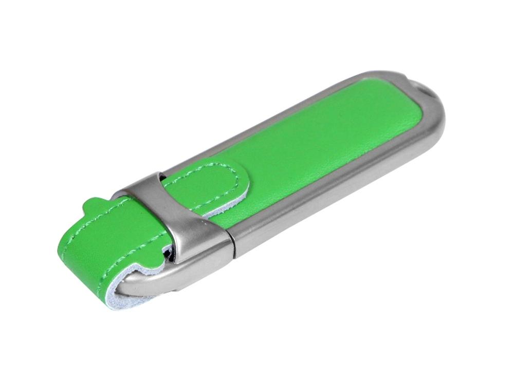 Флешка с массивным классическим корпусом, 64 Гб, зеленый/серебристый