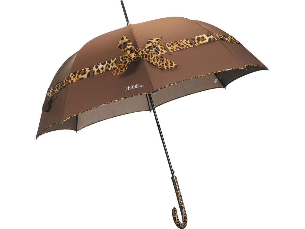 Зонт-трость Ferre, полуавтомат, коричневый/оранжевый/черный