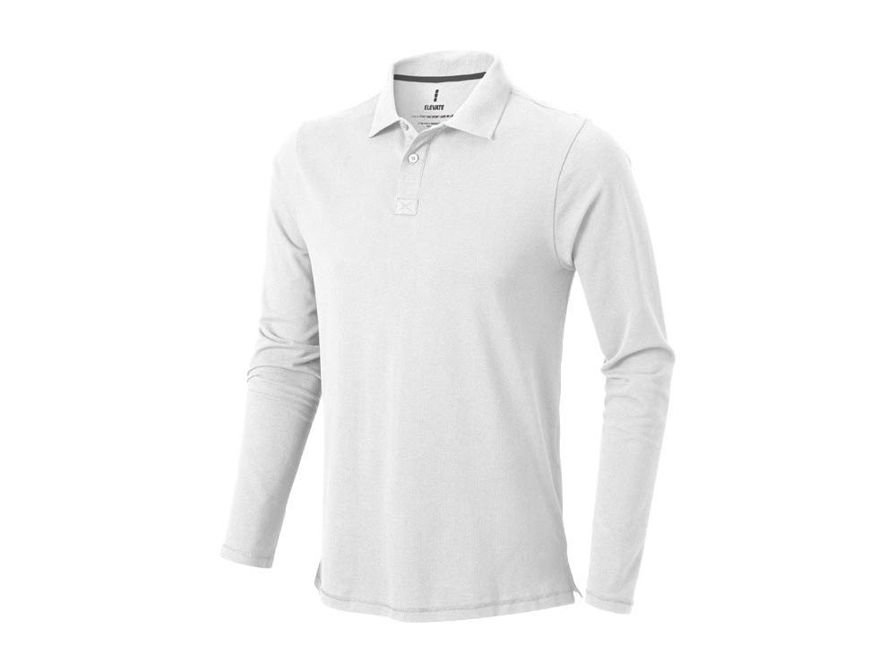 Рубашка поло Oakville мужская с длинным рукавом, белый