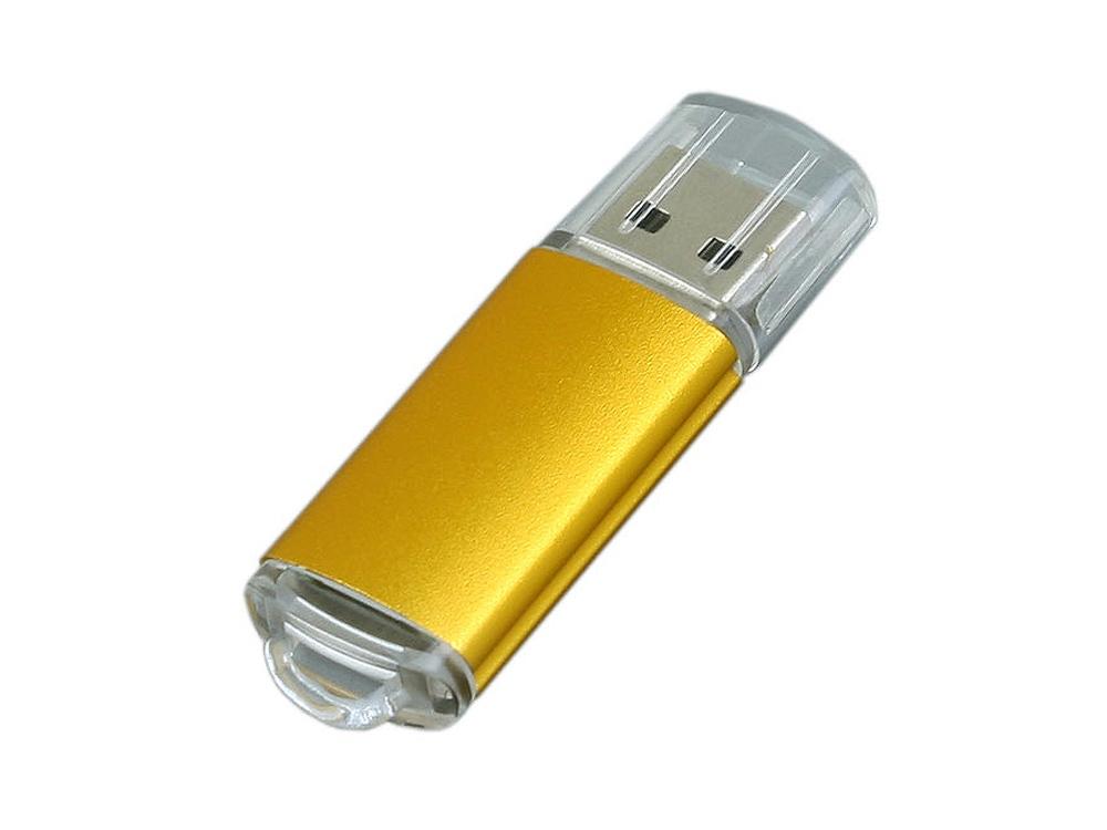 Флешка промо прямоугольной формы  c прозрачным колпачком, 32 Гб, золотистый