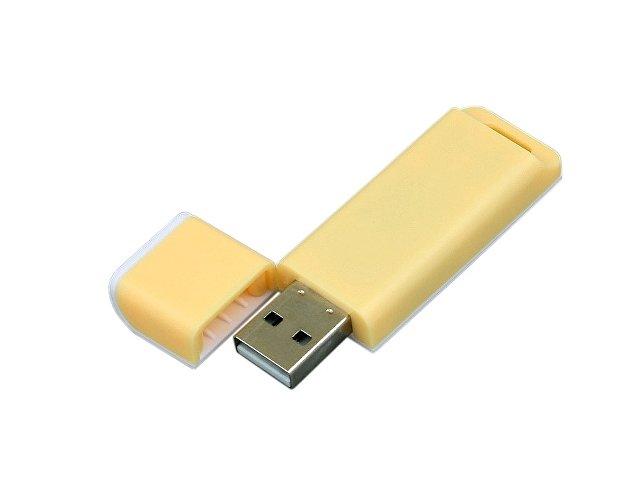 Флешка прямоугольной формы, оригинальный дизайн, двухцветный корпус, 16 Гб, желтый/белый