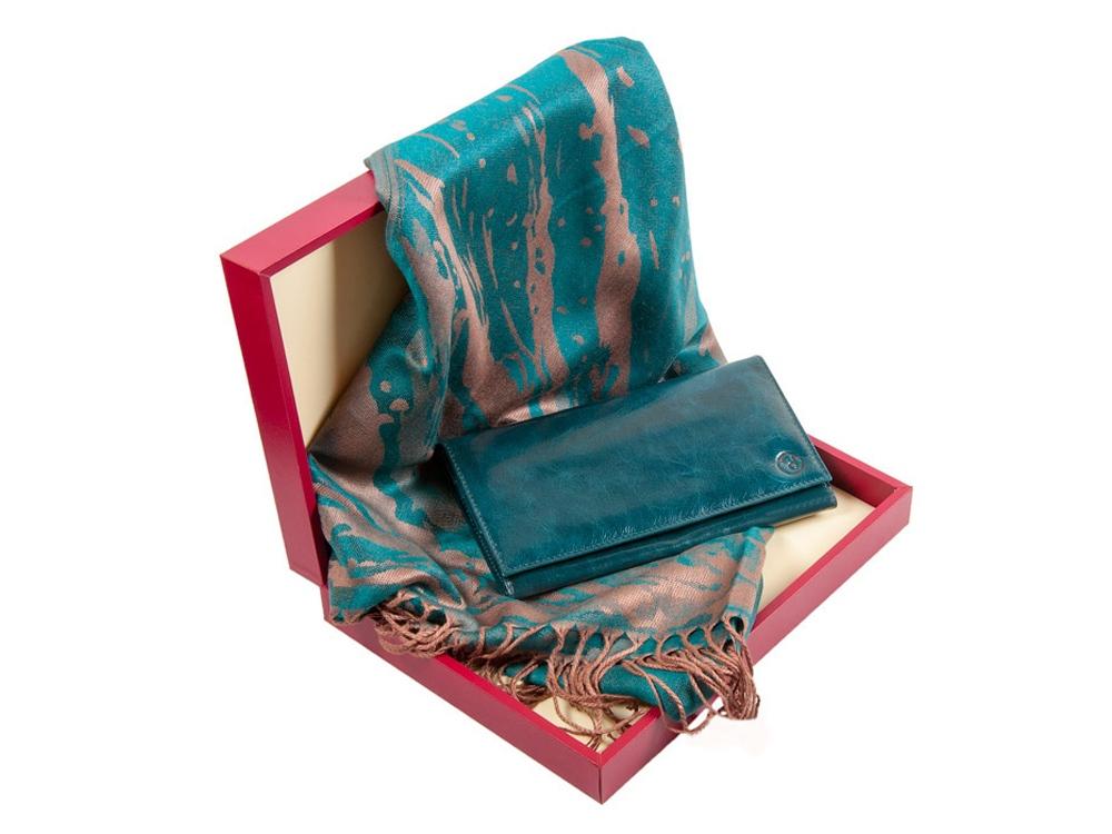 Подарочный набор с оригинальным кожаным кошельком цвета морской волны и элегантным шарфом