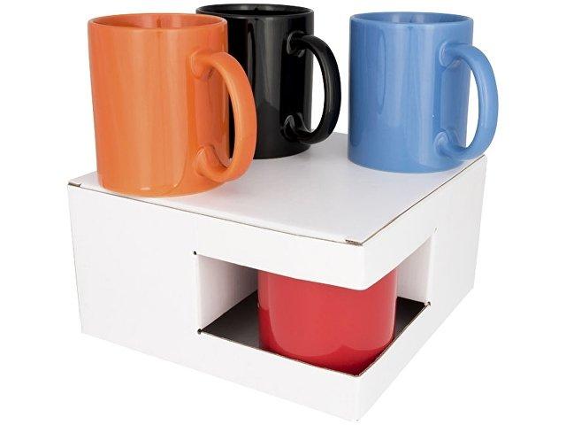 Подарочная коробка для кружек (для 4 керамических предметов), белый, белый