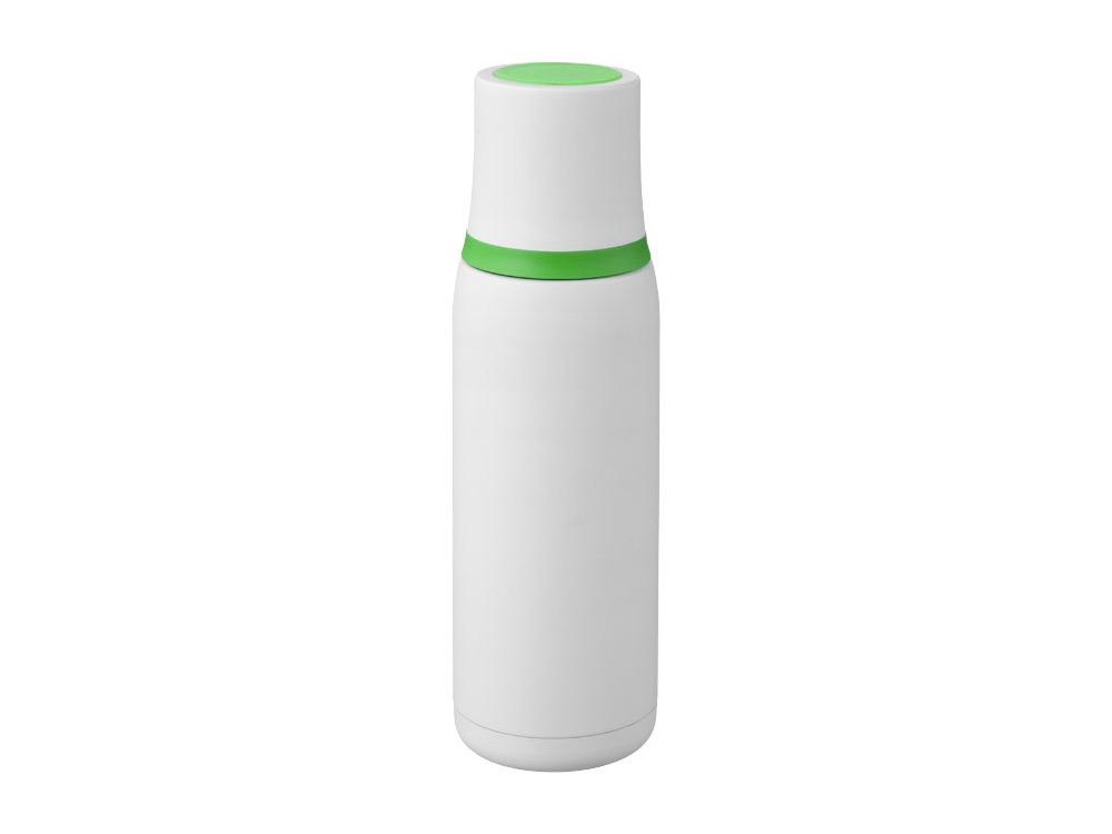Вакуумный термос Flow, белый/зеленый