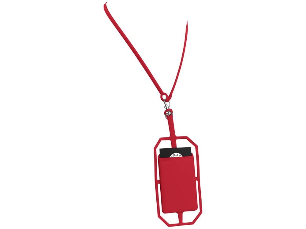 Картхолдер RFID со шнурком, красный