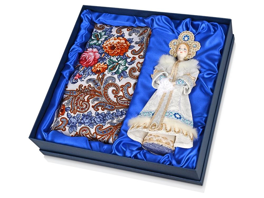 Набор Аленушка: кукла в народном костюме, платок, белый/голубой