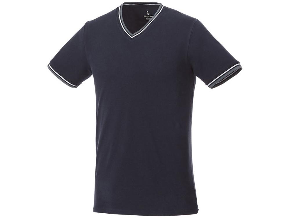 Мужская футболка Elbert с коротким рукавом, пике и кармашком, темно-синий/серый меланж/белый