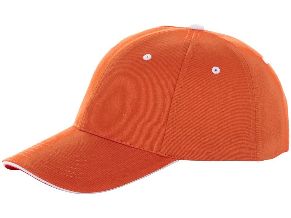 Бейсболка Brent, сэндвич, 6 панелей, оранжевый