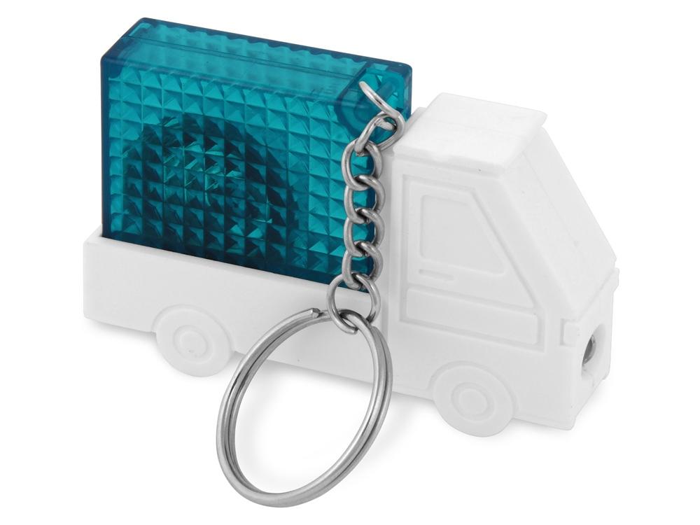 Брелок-рулетка Автомобиль, 1 м., с фонариком, белый/синий